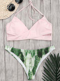 Halter Crossover Palm Leaf Bikini - Pink L