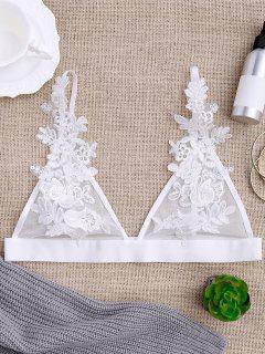 Sheer Mesh Applique Bralette - White L