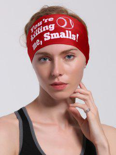 Lettres Pattern Sport Cycling Headband - Rouge