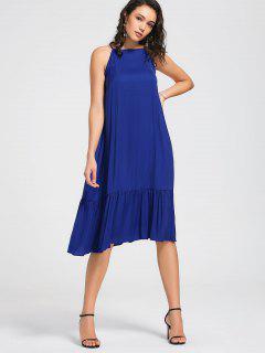 Vestido De Cuello Alto Flounces Midi - Azul L