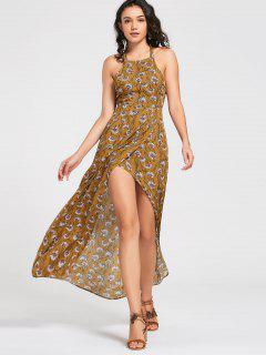 Maxi Vestido Escotado De Flores Con Cierre De Nudo En Espalda - Amarillo L