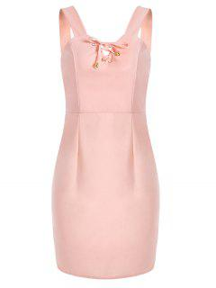 Lace Up Fitted Mini Dress - Pink S