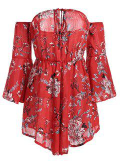 Off The Shoulder Flare Sleeve Floral Romper - Floral M