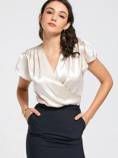 Crossed Front Cut Out Satin Top - Apricot M