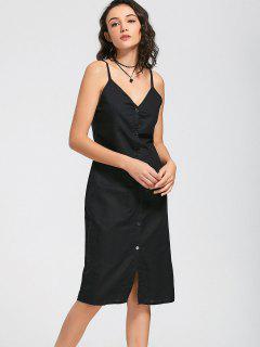 Slit Belted Button Up Slip Dress - Black M