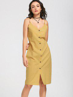 Slit Belted Button Up Slip Dress - Yellow M