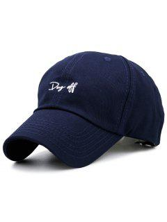 Tiny Letters Embroiderid Baseball Hat - Purplish Blue