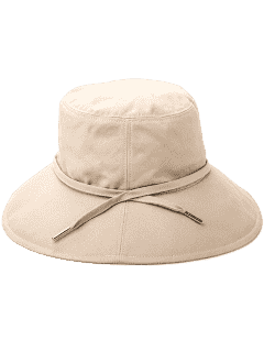 Sunscreen Ribbon Embellkished Bucket Hat - Apricot