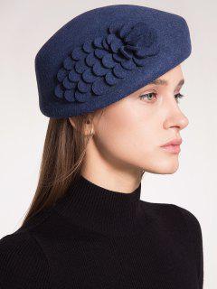 Woolen Floral Embellished Pillbox Hoop Hat - Purplish Blue