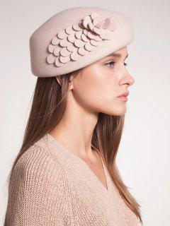 Woolen Floral Embellished Pillbox Hoop Hat - Apricot