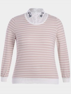 Embroidered Overlay Plus Size Striped Top - Pink And White 4xl