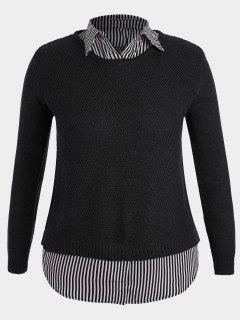 Pullover Stripe Plus Size Sweater - Black 3xl