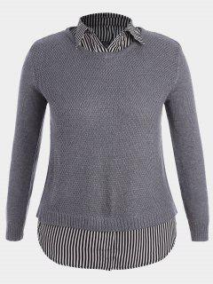Pullover Stripe Plus Size Sweater - Gray Xl