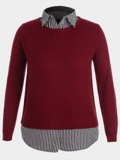 Pullover Stripe Plus Size Sweater - Red 2xl