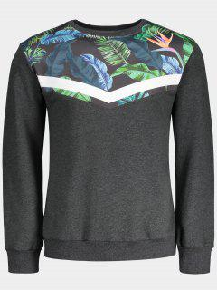 Crew Neck Leaves Print Insert Sweatshirt - Gray M
