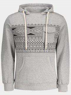 Chest Pocket Tribal Print Pullover Hoodie - Gray M