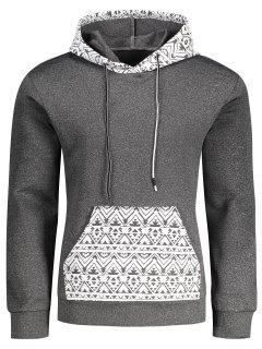 Kangaroo Pocket Tribal Print Pullover Hoodie - Gray Xl