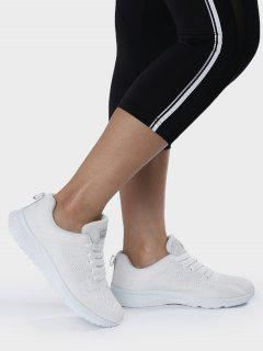 Eyelet Embroidery Mesh Breathable Athletic Shoes - White 37
