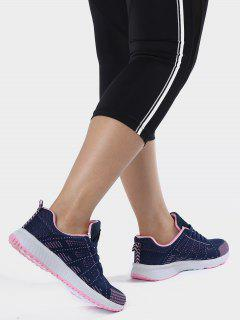 Eyelet Embroidery Mesh Breathable Athletic Shoes - Deep Blue 38