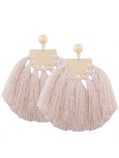 Statement Geometric Tassel Earrings - Beige