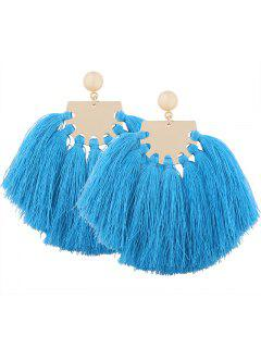 Statement Geometric Tassel Earrings - Blue