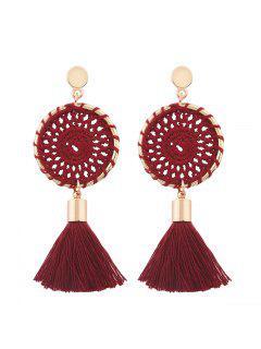 Crochet Floral Tassel Drop Earrings - Red