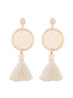 Crochet Floral Tassel Drop Earrings - White