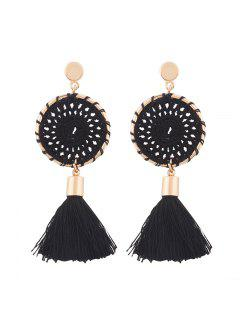 Crochet Floral Tassel Drop Earrings - Black