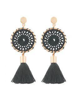 Crochet Floral Tassel Drop Earrings - Dark Green
