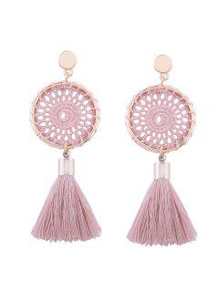 Crochet Floral Tassel Drop Earrings - Pink