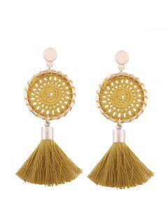 Crochet Floral Tassel Drop Earrings - Ginger