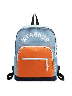 Letter Printed Nylon Backpack - Blue