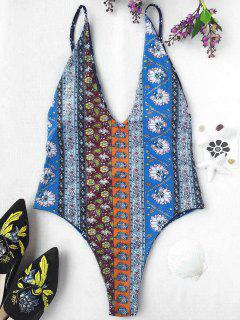 Plunging Neck Patchwork Print High Cut Swimwear - M