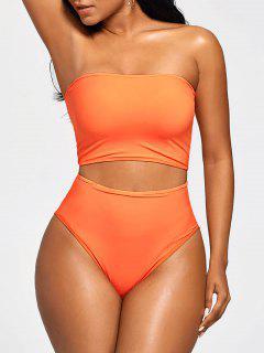 Strapless Bandeau High Waist Bikini - Mandarin L