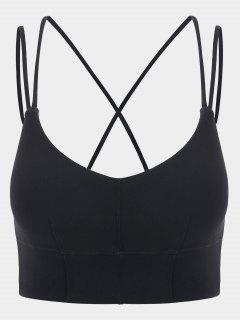 Strappy Mid Impact Sports Bra - Black Xl