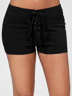 Lace Up Skinny Shorts - Black Xl