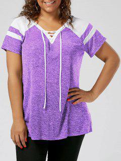 Plus Size Raglan Sleeve Lace Up Top - White + Purple Xl