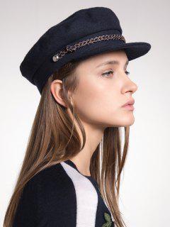 Rope Embellished Woolen Blend Peaked Cap - Black