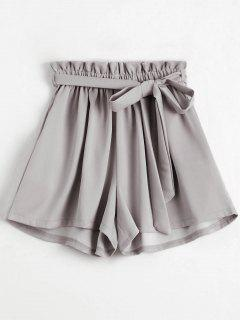 Smocked Belted High Waisted Shorts - Light Gray