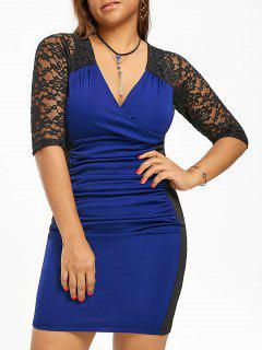 Lace Trim Plus Size Surplice Ruched Dress - Blue And Black 4xl