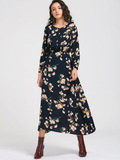 Long Sleeve Buttons Tiny Floral Maxi Dress - Cadetblue L