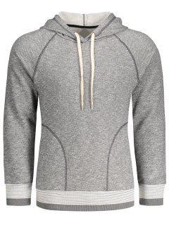 Stripe Hem Raglan Sleeve Hoodie - Gray L