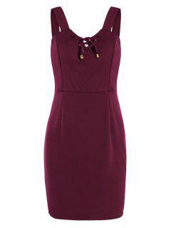 Encaje Hasta Mini Vestido Ajustado - Rojo Oscuro L