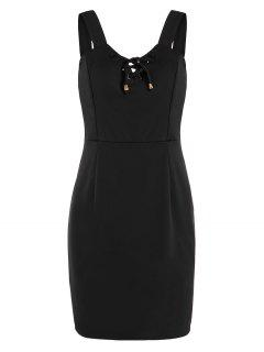 Lace Up Fitted Mini Dress - Black M