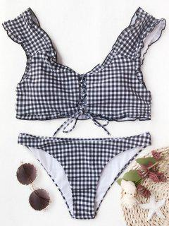 Gingham Lace Up Bralette Bikini Set - White And Black M