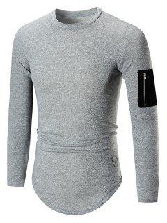 Arc Hem Zip Pocket Tall Tee - Light Gray 2xl