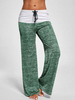 Foldover Heather Wide Leg Pants - Apple Green L