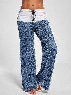 Foldover Heather Wide Leg Pants - Blue Gray Xl