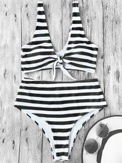 Knotted Striped High Waisted Bikini Set - White And Black L