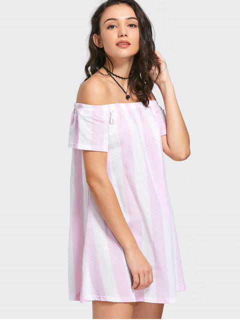 online Off The Shoulder Striped Mini Dress - PINK L Mobile